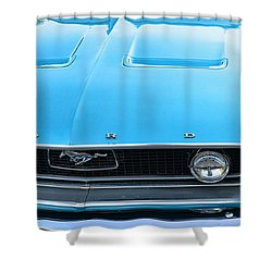 1968 Mustang Fastback Hood Shower Curtain by Paul Ward