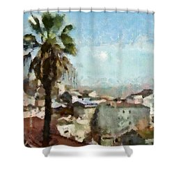 Shower Curtain featuring the painting Lisbon by Dariusz Gudowicz