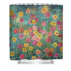 A Field Of Flowers Shower Curtain by John Keaton