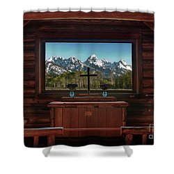 A Pew With A View Shower Curtain by Sandra Bronstein