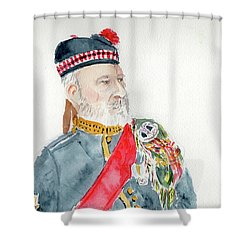 Shower Curtain featuring the painting A Scottish Soldier by Yoshiko Mishina