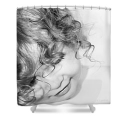 An Angels Smile - Black And White Shower Curtain by Kerri Ligatich