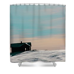 Baby Blue Shower Curtain by Empty Wall