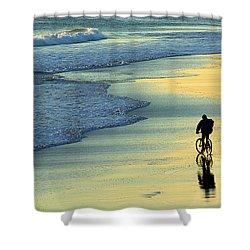 Beach Biker Shower Curtain by Carlos Caetano