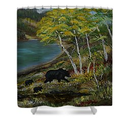 Bear Country Shower Curtain by Leslie Allen