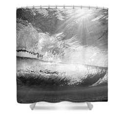 Black And White View Under Wave Shower Curtain by MakenaStockMedia - Printscapes