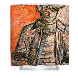Shower Curtain featuring the painting Boy In Red by Cathie Richardson
