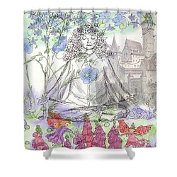 Shower Curtain featuring the painting Celestial Castle by Cathie Richardson