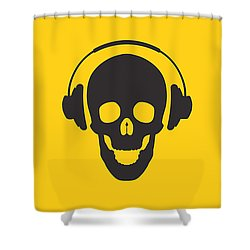 Dj Skeleton Shower Curtain by Pixel Chimp