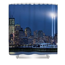 Ground Zero Tribute Lights And The Freedom Tower Shower Curtain by Chris Lord