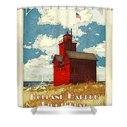 Holland Harbor Lighthouse Shower Curtain by Antoinette Houtman