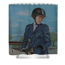 Horseshow Day Shower Curtain by Patricia Barmatz