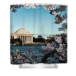 Jefferson Memorial In Spring Shower Curtain by Christopher Holmes