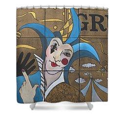 Jester In Blue Shower Curtain by Susanne Clark