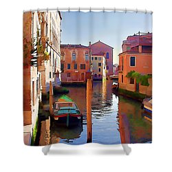 Late Afternoon In Venice Shower Curtain by Elaine Plesser