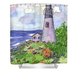 Shower Curtain featuring the painting Lighthouse In Summer  by Cathie Richardson