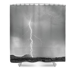 Lightning Strike Colorado Rocky Mountain Foothills Bw Shower Curtain by James BO  Insogna