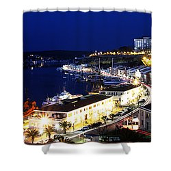 Shower Curtain featuring the photograph Mahon Harbour At Night by Pedro Cardona