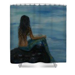 Mermaid Mist Shower Curtain by Leslie Allen