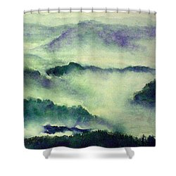 Shower Curtain featuring the painting Mountain Oriental Style by Yoshiko Mishina