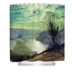 On The Tees Near Barnard Castle Shower Curtain by John Atkinson Grimshaw