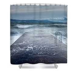 Raging Sea Shower Curtain by Evgeni Dinev
