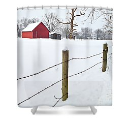 Red Barn And Fresh Snow - D006392a Shower Curtain by Daniel Dempster