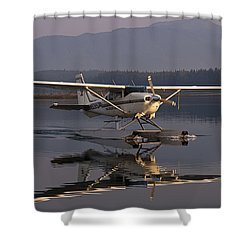Reflections Of A Float Plane Shower Curtain by Darcy Michaelchuk
