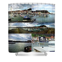 #scarborough #harbour #seaside #sea Shower Curtain by Michael Comerford