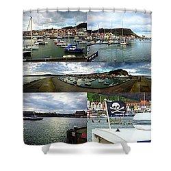 #scarborough #harbour #seaside #sea Shower Curtain