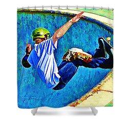 Skateboarding In The Bowl Shower Curtain by Elaine Plesser