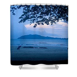 Strolling Surfer Shower Curtain