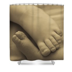 Toes Of Different Size Shower Curtain by Darcy Michaelchuk