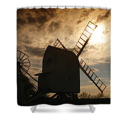 Windmill At Dusk  Shower Curtain by Pixel Chimp