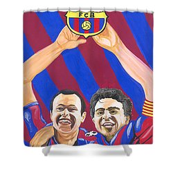 Xavi And Iniesta Shower Curtain by Emmanuel Baliyanga