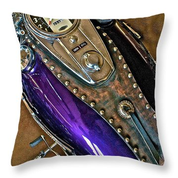 Throw Pillow featuring the photograph 1953 Purple Harley Panhead by Linda Bianic