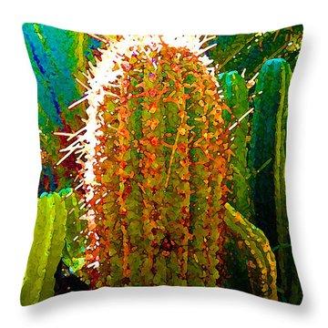 Backlit Cactus Throw Pillow by Amy Vangsgard