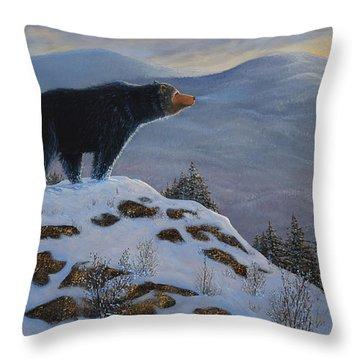 Last Look Black Bear Throw Pillow by Frank Wilson