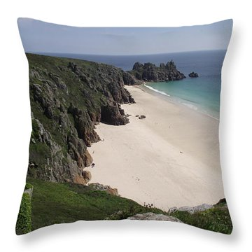 Throw Pillow featuring the photograph Porthcurno Cove by Jayne Wilson