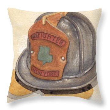 Proud To Be Irish Fire Helmet Throw Pillow by Ken Powers