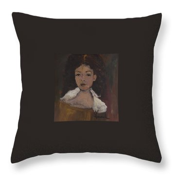 Throw Pillow featuring the painting Autumn Walking by Laurie L