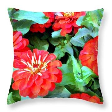 Orange Zinnias Throw Pillow by Elaine Plesser