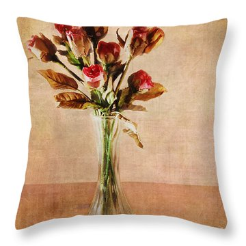 Vintage Roses Throw Pillow by Judi Bagwell