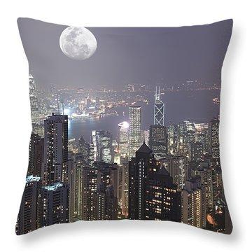 Hongkong Throw Pillow by MotHaiBaPhoto Prints