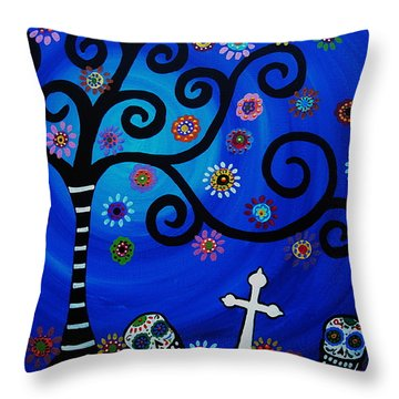 Day Of The Dead Throw Pillow by Pristine Cartera Turkus