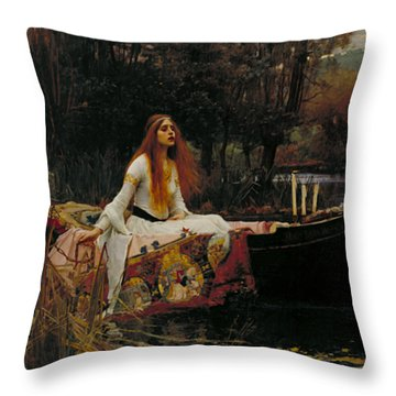 The Lady Of Shalott Throw Pillow by John William Waterhouse
