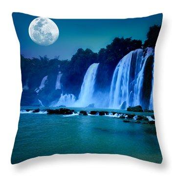 Waterfall Throw Pillow by MotHaiBaPhoto Prints