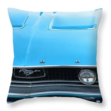 1968 Mustang Fastback Hood Throw Pillow by Paul Ward