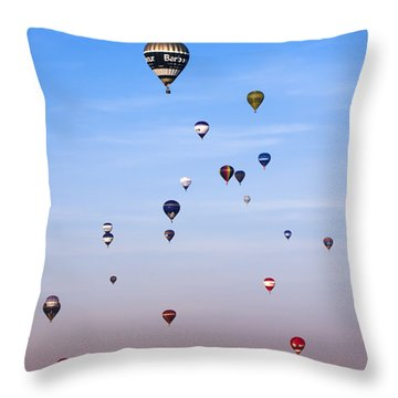 Colorful Balloons On Colorful Sky Throw Pillow by Angel  Tarantella