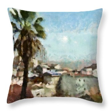 Throw Pillow featuring the painting Lisbon by Dariusz Gudowicz
